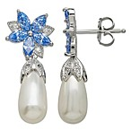 Gemma with Love by Swarovski Zirconia Sterling Silver Freshwater Cultured Pearl Earrings in Blue