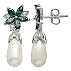 Gemma with Love by Swarovski Zirconia Sterling Silver Freshwater Cultured Pearl Earrings in Green