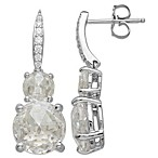 Gemma with Love by Swarovski Zirconia Sterling Silver Double Stone Drop Earrings