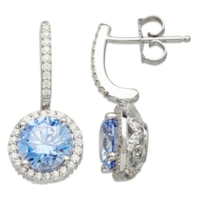 Gemma with Love™ made with Swarovski® Zirconia Sterling Silver Halo Drop Earrings