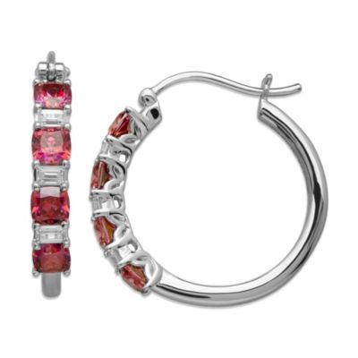 Gemma with Love™ made with Swarovski® Zirconia Sterling Silver Hoop Earrings in Red/White