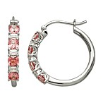 Gemma with Love by Swarovski Zirconia Sterling Silver Pink & White Swarovski Zirconia Hoop Earrings