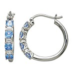 Gemma with Love by Swarovski Zirconia Sterling Silver Blue and White Hoop Earrings