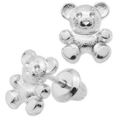 Precious Things Children's Sterling Silver Teddy Bear Earrings