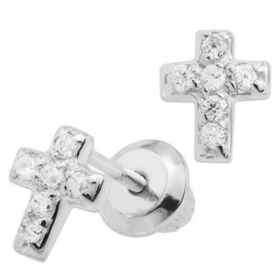 Precious Things Sterling Silver Cubic Zirconia Cross Threaded Post Earrings