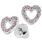 Precious Things Sterling Silver Pink Cubic Zirconia Open Heart Threaded Post Earrings