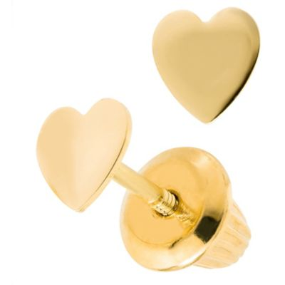 Precious Things Children's 14K Yellow Gold Heart Earrings