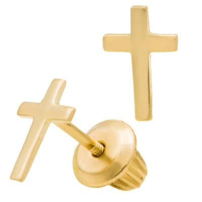 Children's 14K Yellow Gold Cross Earrings