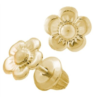 Children's 14K Yellow Gold Threaded Post Flower Earrings