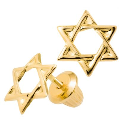 Precious Things Children's 14K Yellow Star of David Threaded Post Earrings