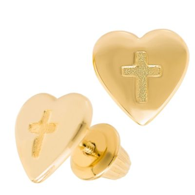 Precious Things Children's 14K Yellow Gold Heart and Cross Threaded Post Earrings