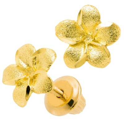 Precious Things Children's 14K Yellow Gold Engraved Flower Earrings