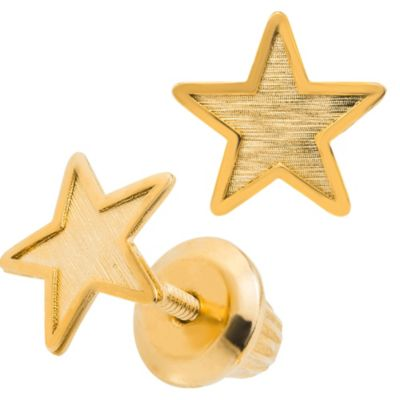 Precious Things Children 14K Yellow Gold Threaded Post Star Earrings