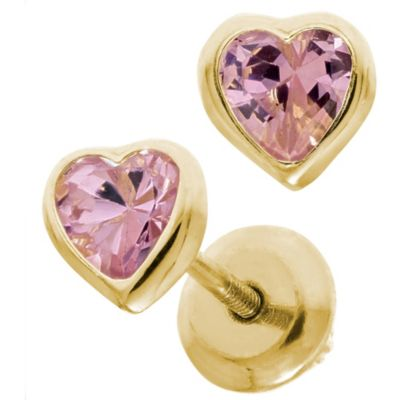 Precious Things Children's 14K Yellow Gold Cubic Zirconia Heart Earrings in Pink