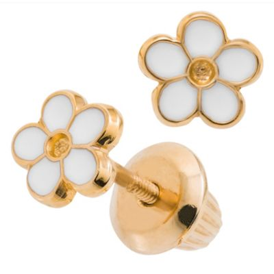 Precious Things 14K Yellow Gold Epoxy Daisy Threaded Post Earrings