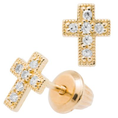 Precious Things Children's 14K Yellow Gold .06 cttw Diamond Cross Earrings