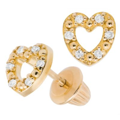 Precious Things Children's 14K Yellow Gold .06 cttw Diamond Open Heart Earrings