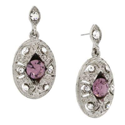 Downton Abbey® Jewellery Silvertone Crystal Oval Drop Earrings in Light Amethyst