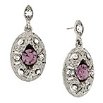Downton Abbey® Jewellery Silvertone Crystal Oval Drop Earrings in Light Amethyst