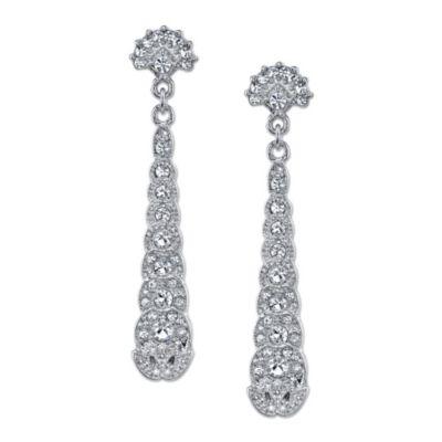 Jewellry Silvertone Crystal Drop Earrings