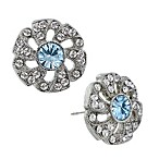 Downton® Abbey Jewellery Silvertone Crystal Flower Stud Earrings in Aquamarine