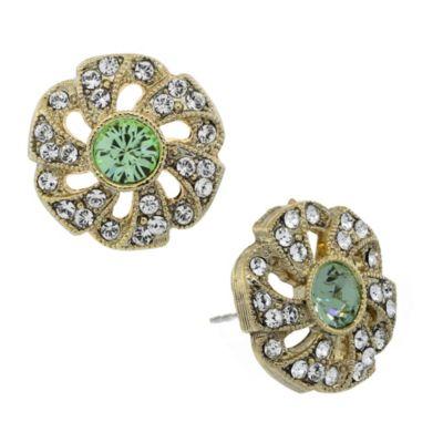 Downton® Abbey Jewellery Goldtone Crystal Flower Stud Earrings in Spring Green