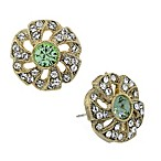Downton® Abbey Jewellery Goldtone Crystal Flower Stud Earrings in Spring Green
