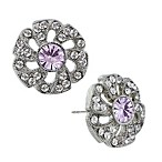 Downton® Abbey Jewellery Silvertone Crystal Flower Stud Earrings in Light Amethyst