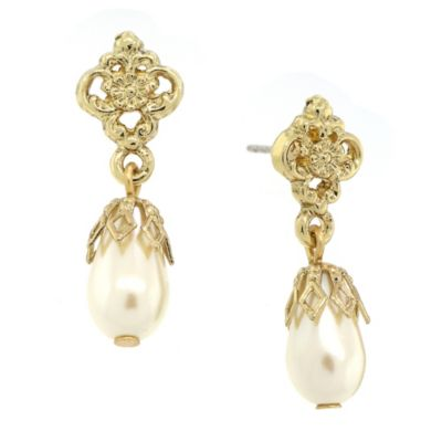 Jewellery Goldtone Simulated Pearl Drop Earrings
