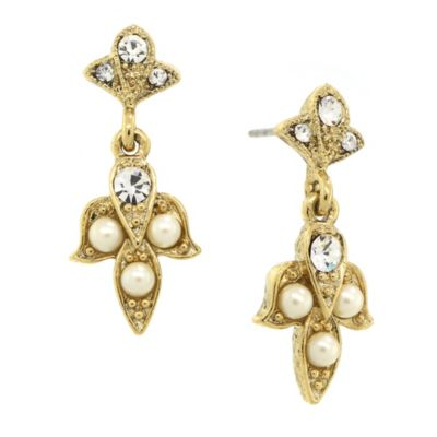 Downton® Abbey Jewellery Goldtone Simulated Pearl and Crystal Angel Drop Earrings