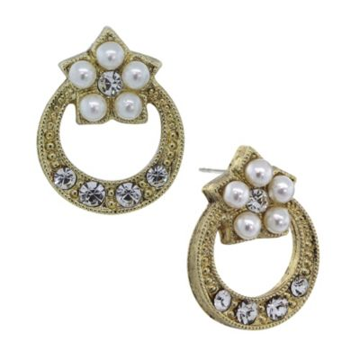 Downton® Abbey Jewellery Goldtone Simulated Pearl and Crystal Loop Stud Earrings