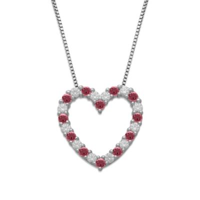 Gemma with Love™ made with Swarovski® Zirconia Sterling Silver Pink Open Heart Pendant