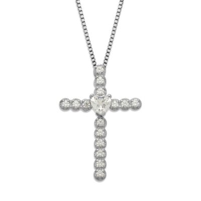 Gemma with Love™ made with Swarovski® Zirconia Sterling Silver Heart Cross Pendant