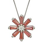 Gemma with Love by Swarovski Zirconia Sterling Silver Starburst Pendant in Pink