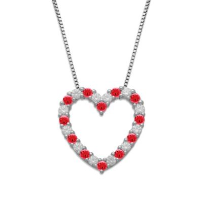Gemma with Love™ made with Swarovski® Zirconia Sterling Silver Red Open Heart Pendant