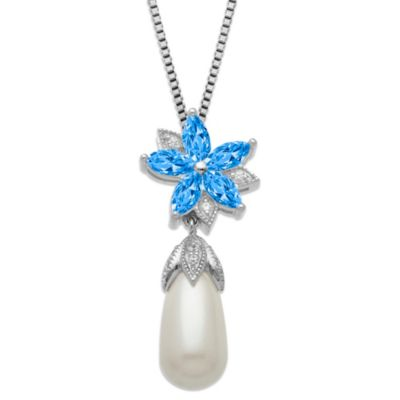 Gemma with Love™ made with Swarovski® Zirconia Silver Freshwater Cultured Pearl Pendant