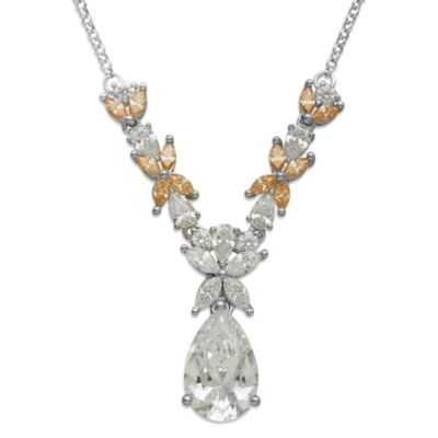 Gemma with Love™ made with Swarovski® Zirconia Sterling Silver Flower Drop Necklace