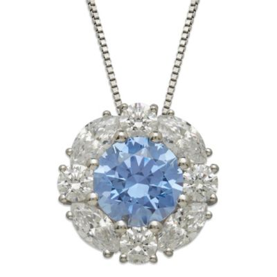Gemma with Love™ made with Swarovski® Zirconia Sterling Silver Frame Round Pendant