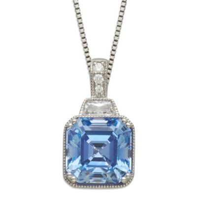 Gemma with Love™ made with Swarovski® Zirconia Sterling Silver Square Pendant in Blue