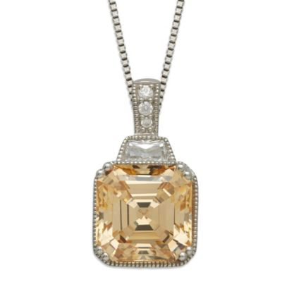 Gemma with Love™ made with Swarovski® Zirconia Sterling Silver Square Pendant in Yellow