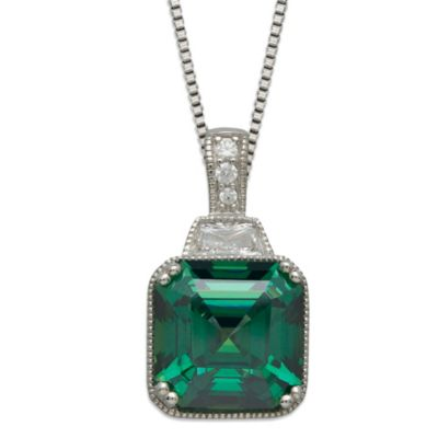 Gemma with Love™ made with Swarovski® Zirconia Sterling Silver Square Pendant in Green