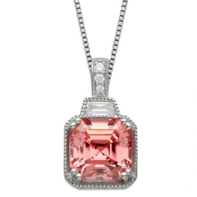 Gemma with Love™ made with Swarovski® Zirconia Sterling Silver Square Pendant in Pink