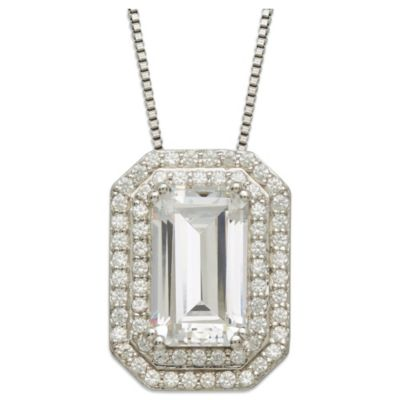 Gemma with Love™ made with Swarovski® Zirconia Sterling Silver Framed Emerald-Cut Pendant