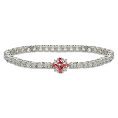 Gemma with Love™ made with Swarovski® Zirconia Sterling Silver Flower Tennis Bracelet
