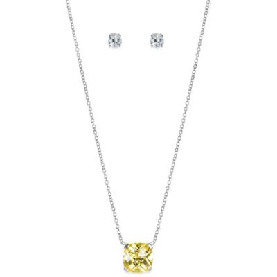 CZ by Kenneth Jay Lane Cushion-Cut Canary Cubic Zirconia Pendant Necklace with Bonus Stud Earrings