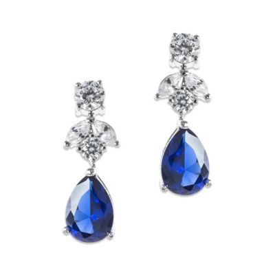 CZ by Kenneth Jay Lane Sapphire-Colored Cubic Zirconia Pear Drop Earrings