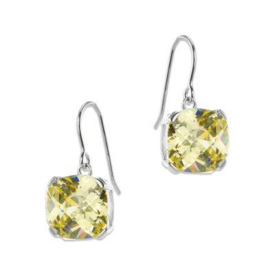 CZ by Kenneth Jay Lane Cushion-Cut Canary-Colored Cubic Zirconia Drop Earrings