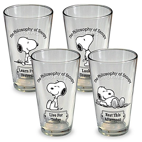 Icup Peanuts Snoopy Pint Glasses Set Of 4 Bed Bath