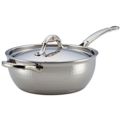 Ruffoni Symphonia Prima 4-Quart Stainless Steel Covered Chef's Pan with Helper Handle