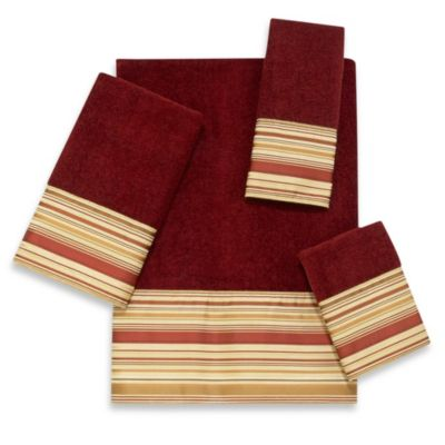 Avanti Maxfield Striped Fingertip Towel in Brick